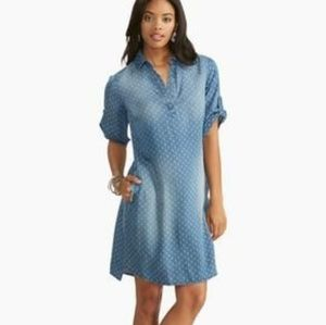 Cato Dot Cluster Chambray Shirt Dress Size S